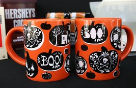 """CRATE & BARREL HALLOWEEN MUGS – 2 ADULT –NWT– WHO COULD SAY """"BOO"""" TO THESE? - $29.96"""