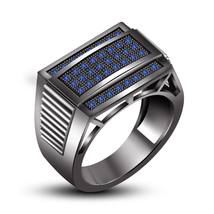 Black Gold Plated 925 Sterling Silver Blue Sapphire Engagement Men's Band Ring - $122.88