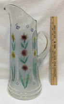 """Pitcher Vase Frosted w/ Hand Painted Flower Floral Design 13.5"""" Blue - $29.65"""