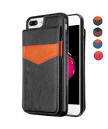 iPhone 7/7 Plus 8 Plus Leather Wallet Cover Case Card Holder Magnet Pouc... - $10.57