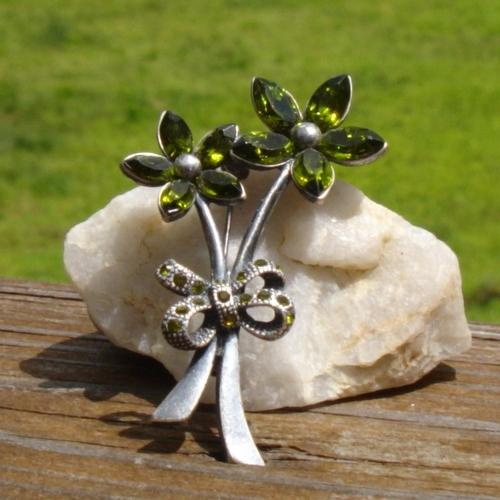 Vintage Green Marquise Rhinestone Flower Brooch