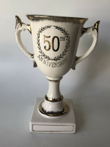 Primary image for Porcelain Lefton China 50th Anniversary Pedestal Trophy Cup White Gold Vintage