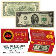 STAR NOTE 2019 Lunar Year of the PIG Lucky Money $2 US Bill w/ Red Folde... - $13.06
