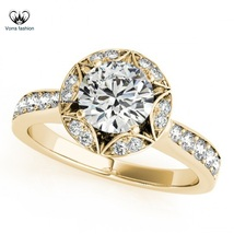 Double Octagon Halo Diamond Engagement Ring In 14k Yellow Gold Plated 92... - ₹5,895.54 INR