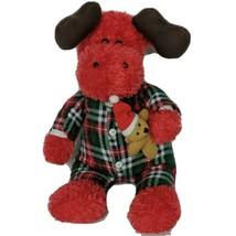 "Sugar Loaf Christmas Moose Flannel Pajamas Teddy Bear Plush Stuffed Animal 15.5"" - $26.42"