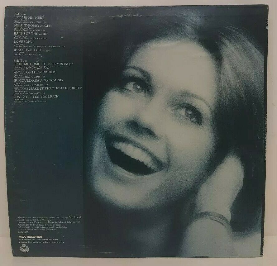 Olivia Newton John Let Me Be There MCA 389 LP Vintage 70s Record Bobby McGee Pop