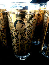 Vintage Set of 6 Libbey MCM Gold Black Drinking Glasses Prudential Tumblers 1965 image 3