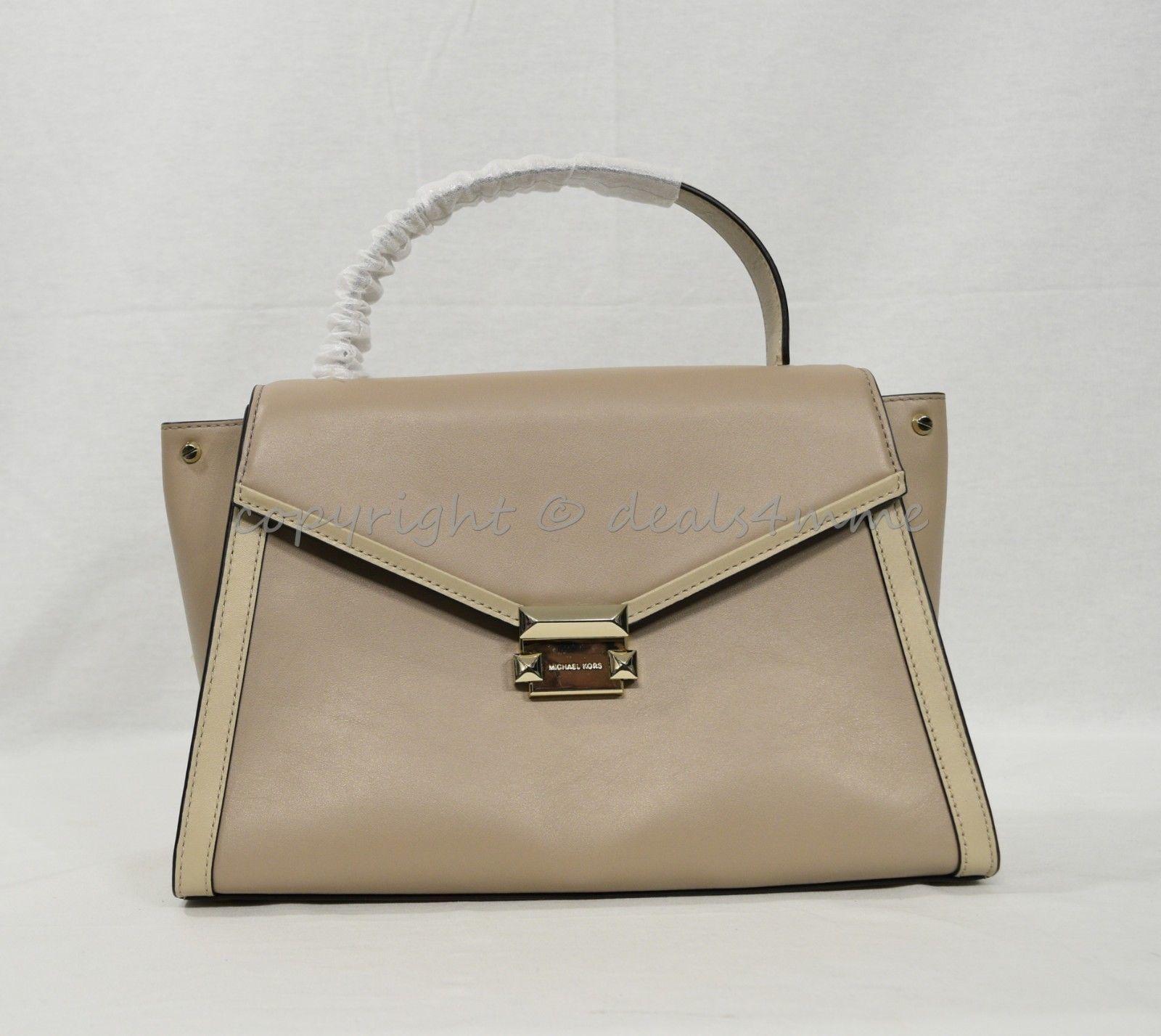 93fcdd392357 Michael Kors Whitney Large Leather Colorblock Satchel Shoulder Bag. Truffle  Oat