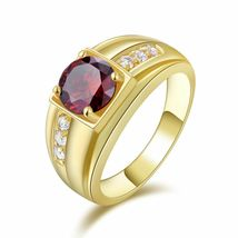 Red Garnet Mens Wedding Engagement Ring 14k Yellow Gold Finish 925 Solid Silver - £69.04 GBP