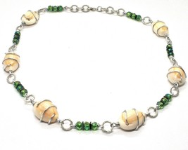 Necklace the Aluminium Long 48 Inch with Seashells Hematite and Crystals Strass image 1