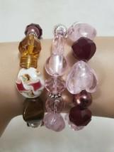 3 Handcrafted stretch Pink Brown Glass Bead Bracelets Boho Artsy Jewelry  - $7.42