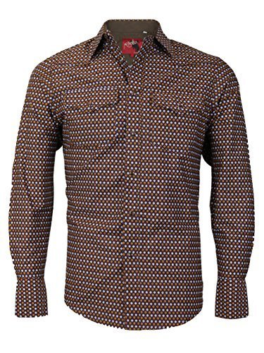 Rodeo Clothing Co. Men's Western Cowboy Pearl Snap Long Sleeve Cotton Dress Shir