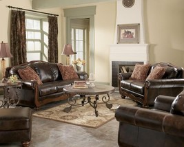 MONTEGO - Old World Wood Trim Faux Leather Sofa Couch Set Living Room Furniture