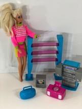 Barbie furniture lot 6 Piece Entertainment center bookcase stereo TV bar... - $16.78