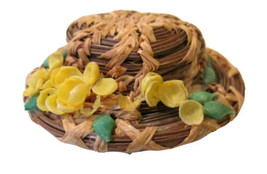 Vintage Handmade Real Straw Hat with Yellow Flowers Pin / Brooch Handcrafted - $5.99