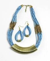 Queen Beaded Necklace Set (Light Blue) - $15.90
