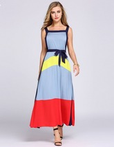 Spaghetti Strap Belted Patchwork Split Maxi Dress - $30.95