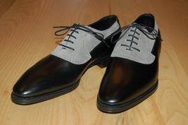 Handmade Men's Black Leather Gray Suede Lace Up Oxford Shoes image 2