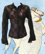 1990s vintage sexy sheer black lace bell angel sleeves shirt size medium... - $49.99