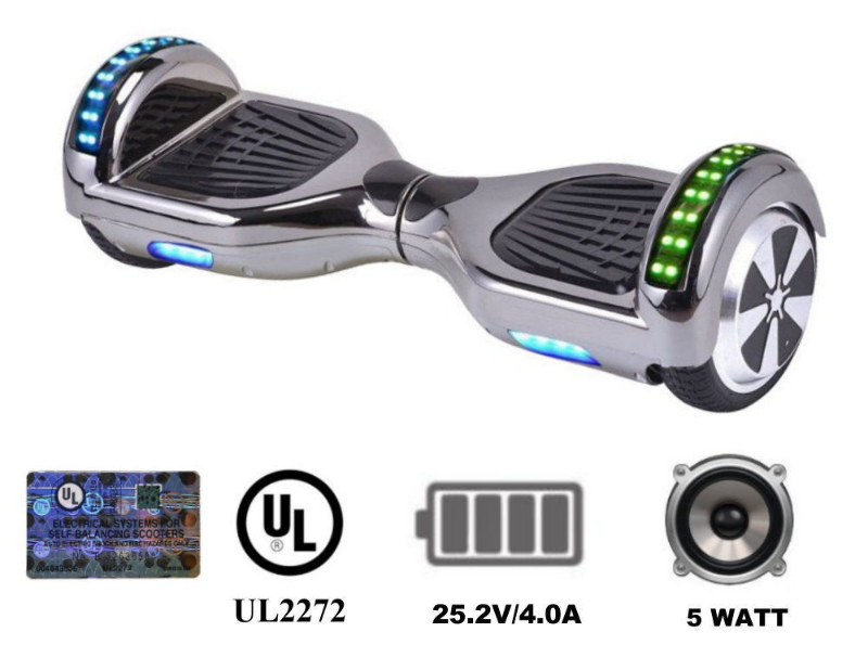 Chrome Silver Bluetooth Hoverboard Two Wheel Balance Scooter 6.5""