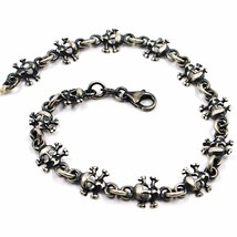 Silver Bracelet 925, Burnished Satin, Row of Skulls, 19 CM - $91.81
