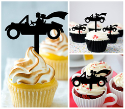 Wedding,Birthday Cupcake topper,silhouette wedding vintage cars couples : 10 pcs - $10.00