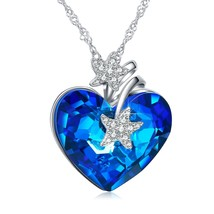 Heart Ocean Necklace Love Heart Pendant Necklaces for Women Made with Sw... - $69.95