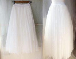 Plus Size White Long Floor Length Tulle skirt White Wedding Bridesmaid Skirt NWT