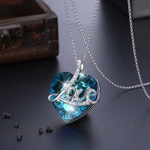 Sterling Silver Necklace Crystal Heart Pendant Genuine Crystals from Swa... - $58.80