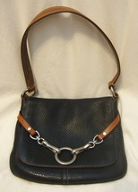 COACH Black Pebbled Leather Handbag Hook Detail Flap Black Brown Small M... - $74.25