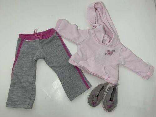 """American Girl Petal Hoodie Outfit 18"""" doll pink gray sweatpants sweatshirt shoes - $19.79"""