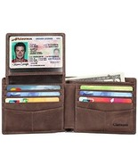 Mens Genuine Leather Bifold Wallet With 2 ID Window And RFID Blocking - ... - $37.92