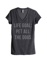 Thread Tank Life Goal Pet All The Dogs Women's Relaxed V-Neck T-Shirt Te... - $24.99+