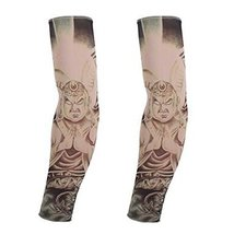 PANDA SUPERSTORE 1-Pair Cool Fake Tattoo Sun Sleeves Body Art Arm Covers for Out