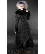 Women's Black Brocade Gothic Victorian Fall Winter Long Steampunk Coat - $169.03