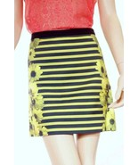 Michael Kors Womens Kiwi Green Floral Striped Lined Stretch Mini Skirt-14 - $39.99