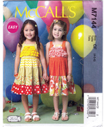 McCall's M7144 Toddler Girls Sewing Pattern Childrens Pullover Dress Siz... - $6.25