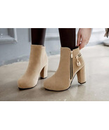 woman cute Martin ankle booties, thick heel, size 3-10, yellow - $58.80