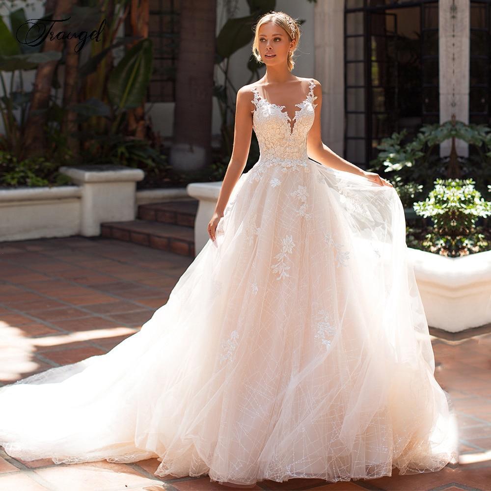 Ugel chic scoop a line lace wedding dresses elegant applique cap sleeve button bride dress court
