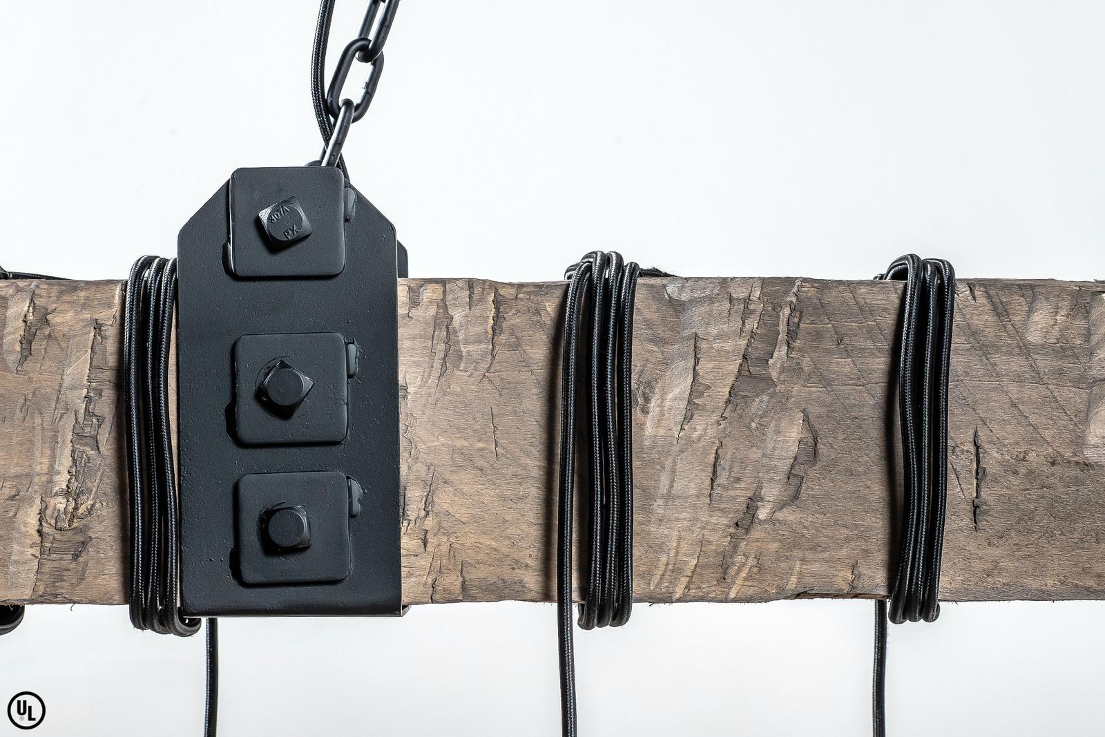 The Wedgewood, 5' - Gray Beam/Black Cord - UL Listed Rustic Beam Chandelier