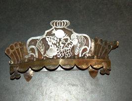 Judaica Oil Menorah Hanukkah Vintage Israel Silver Copper 7 Seven Species 1960's image 4
