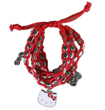 Sanrio Hello Kitty Silver Beaded Red String Rope Charm Bracelet New in Pouch image 2