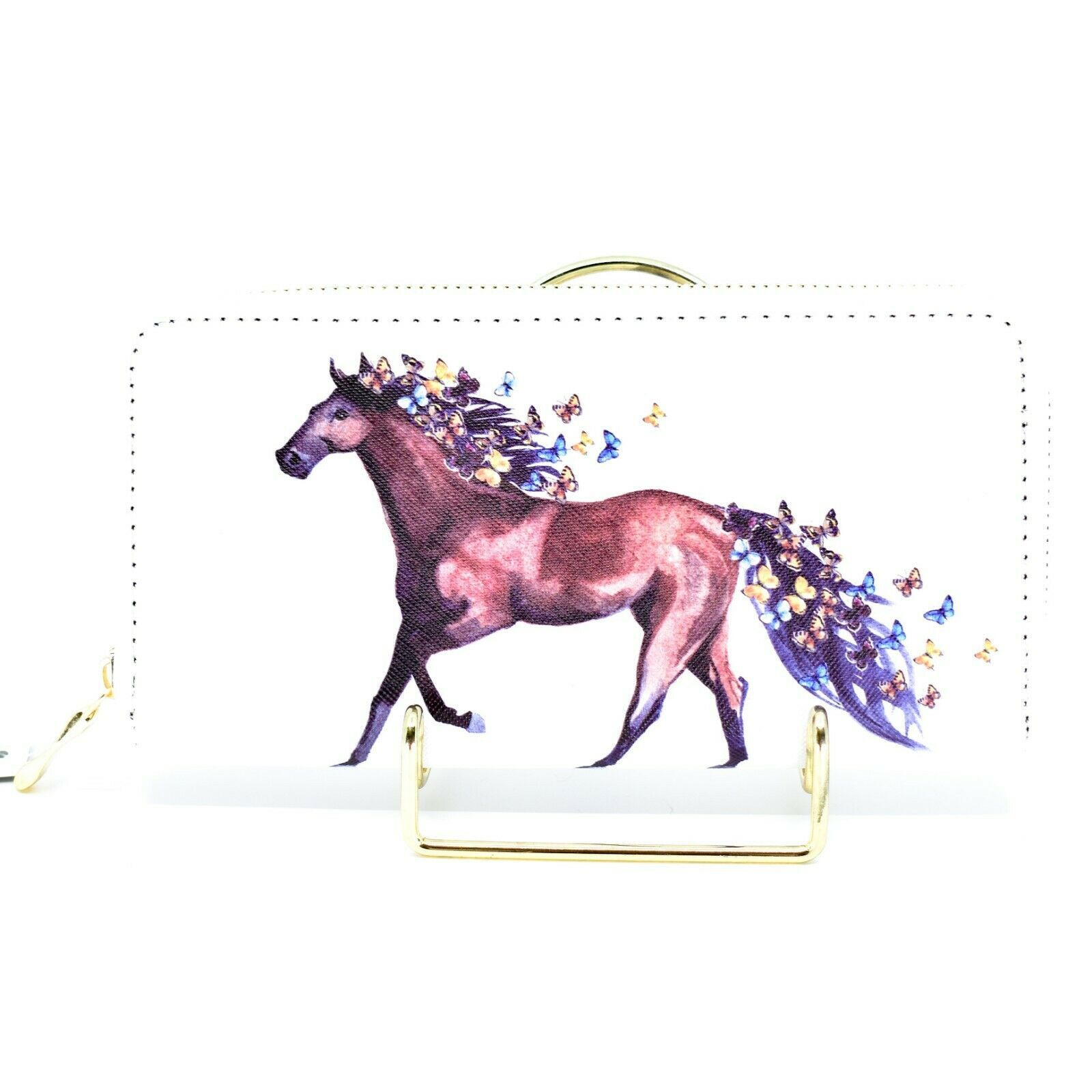 Bijorca Country Western Horse w Butterflies Vinyl Clutch Wallet New with Tags
