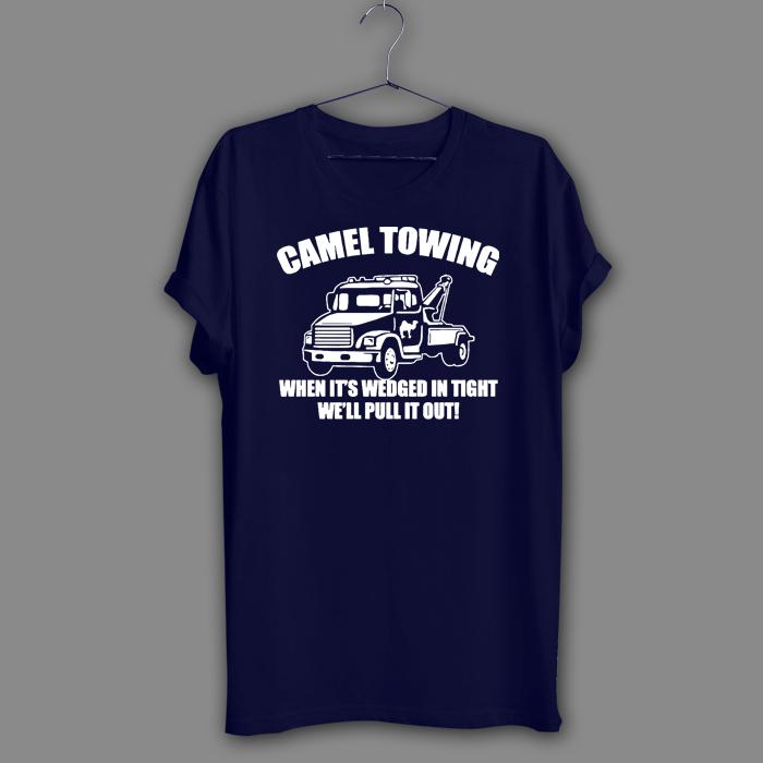 Camel funny Black T-Shirt Towing Rude Joke Novelty Navy Shirt gift present Tee