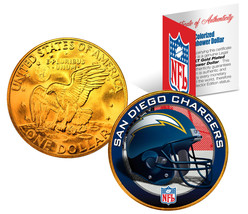 SAN DIEGO CHARGERS NFL 24K Gold Plated IKE Dollar US Coin * NFL LICENSED * - $9.85
