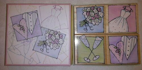 Primary image for 2006 Hero Arts LL071 Wedding Day Wood Mounted Rubber Boxed Stamp Set Pre-owned