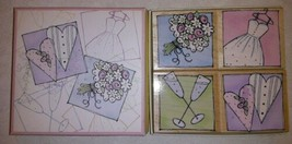 2006 Hero Arts LL071 Wedding Day Wood Mounted Rubber Boxed Stamp Set Pre... - $12.86