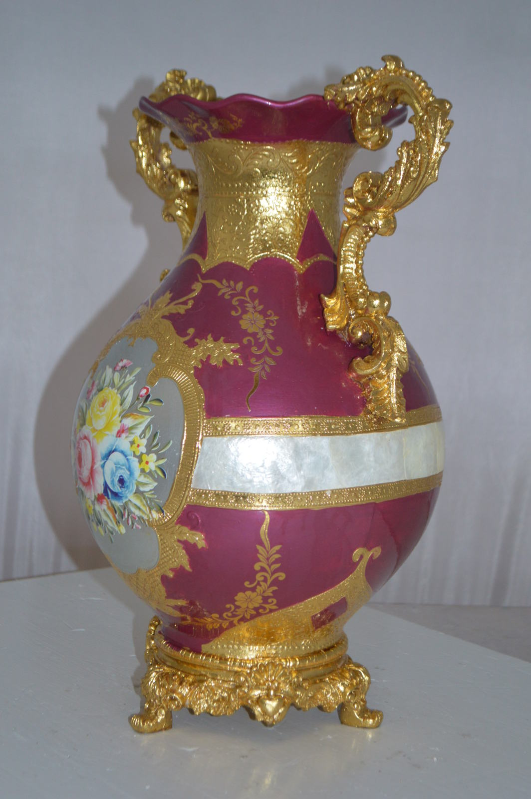 "decoration Vase Gold and Pink -  Size: 12""L x 9""W x 17""H."