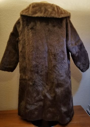 Vintage Faux Fur Coat Annarta Robert Hall Malden Limited Button Long Brown Retro