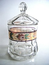 Covered Clear Glass Apothecary Jar Gold Trim Hand Painted Decoration - $17.77
